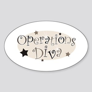 """""""Operations Diva"""" [brown] Oval Sticker"""